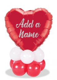 Personalised Valentines Red Heart Balloon Table Centrepiece