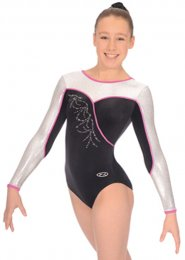 Black and Pink Melody Long Sleeve Gymnastics Leotard