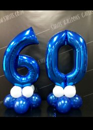 Metallic Blue Number 60th Birthday Balloon Set