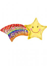 Inflated Shooting Star Get Well Soon Large Helium Balloon