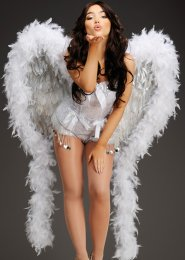 Deluxe White and Silver Diamante Feather Showgirl Wings