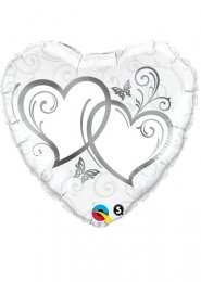 Inflated Silver Entwined Hearts Wedding Helium Balloon
