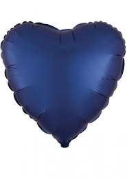 Inflated Navy Blue Satin Luxe Heart Helium Balloon