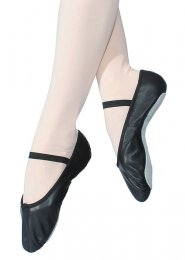 Black Leather Ballet Shoes with Elastic Strap