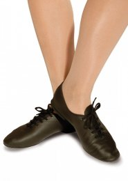 Black Leather Rubber Sole Jazz Shoes