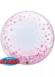 Inflated Pink Confetti Transparent Deco Bubble Helium Balloon
