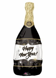Inflated Happy New Year Champagne Bottle Helium Balloon