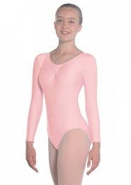 Pale Pink Martene Long Sleeve Dance Leotard