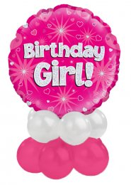 Pink and Silver Birthday Girl Balloon Centrepiece