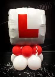 L Plate Inflated Balloon Table Centrepiece