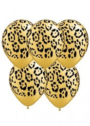 Gold Leopard Print Party Balloons Pack 5