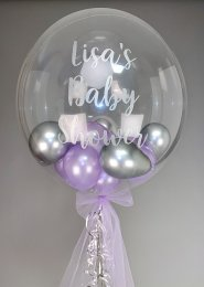 Lilac and Silver Personalised Mini Balloon Filled Bubble Balloon