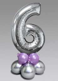 Inflated Mid-Size Silver and Lilac Number 6 Balloon Centrepiece