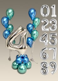 Chrome Green & Blue Number Balloon Centrepiece and Cluster Set