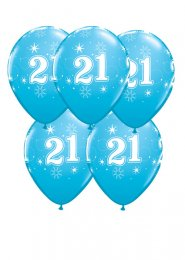 Blue 21st Birthday Party Balloons Pack 5