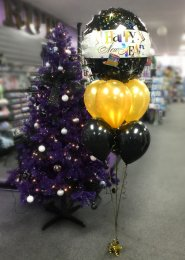 Black And Gold New Years Eve 7 Balloon Cluster
