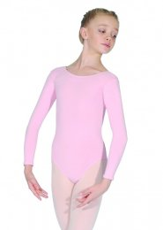 Pale Pink Donna Long Sleeve Cotton Dance Leotard
