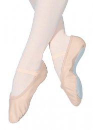 Pink Leather Ballet Shoes with Elastic Strap