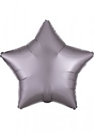 Inflated Greige Grey Satin Luxe Star Helium Balloon