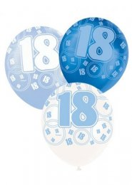 Blue Glitz 18th Birthday Party Balloons Pack 6