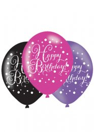Black and Pink Birthday Party Balloons Pk6
