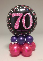 Black And Pink 70th Birthday Balloon Centrepiece