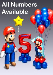 Large Super Mario Inflated Personalised Balloon Party Set