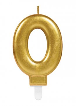 Gold Number 0 Birthday Cake Candle