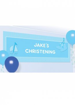 Large Blue Christening Personalised Banner