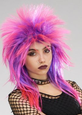 Black Punk Rocker 80s Fancy Dress Mohawk Wig
