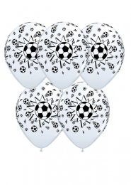 White Football Party Balloons Pack 5