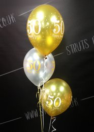 Golden 50th Anniversary 3 Balloon Cluster