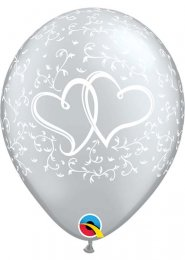 Inflated Silver Entwined Hearts Helium Latex Party Balloon