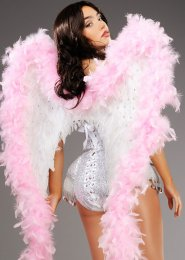 Deluxe Sparkle White and Pink Feather Angel Wings