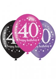 Pink and Black 40th Birthday Party Balloons Pk6