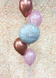 Inflated Rose Gold and Pink Birthday Helium Balloon Cluster