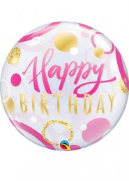 Inflated Pink and Gold Happy Birthday Bubble Helium Balloon