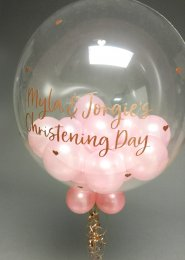 Personalised Christening Multi Balloon Filled Bubble Balloon