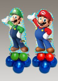 Inflated Large Super Mario and Luigi Balloon Centrepiece Set