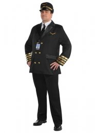 Mens Plus Size Captain Wingman Pilot Costume