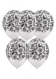 White Damask Pattern Party Balloons Pack 5