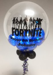 Personalised Blue Fortnite Mini Balloon Filled Bubble Balloon