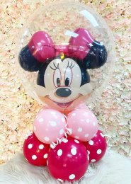 Pink Minnie Mouse Bubble Inflated Balloon Centrepiece