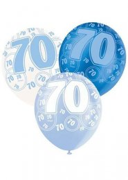 Blue Glitz 70th Birthday Party Balloons Pack 6
