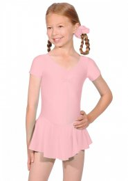 Pale Pink Short Sleeve Dance Leotard with Skirt