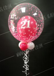 Pink 21st Birthday Deco Bubble Balloon