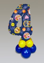 Paw Patrol 4th Birthday Mid-Size Number Balloon Centrepiece
