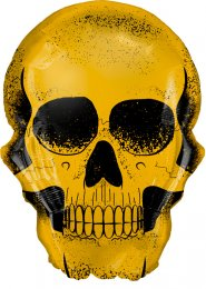 Inflated Large Gothic Gold Skull Halloween Helium Balloon