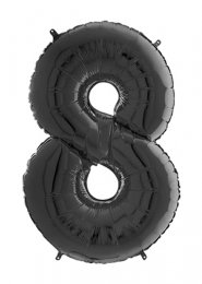 Mid-Size Black Number 8 Inflated Helium Balloon on Weight