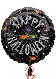 Inflated Happy Halloween Spider Helium Balloon